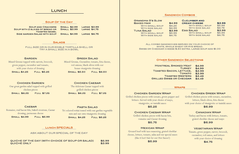 Little Lake Cafe Menu - L9 Designs